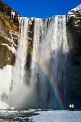 Skógafoss (dawvon) Tags: travel people snow nature landscape waterfall iceland rainbow couple europe south nordic ísland skógafoss skogar skógar suðurland southernregion republicoficeland lýðveldiðísland skógáriver