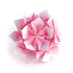 , ! (_Ekaterina) Tags: pink red white paper origami paperfolding modularorigami kusudama unitorigami ekaterinalukasheva