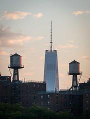 One World Trade Center (HubbleColor {Zolt}) Tags: sunset newyork watertower manhattan circleline oneworldtradecenter freedomtower unitedstates us city skyline dusk