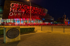 Wales Millennium Centre (technodean2000) Tags: park uk red wales night lights bay amusement hall nikon outdoor south centre text cardiff millennium lightroom d610