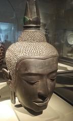 Bronze Buddha head, Ayutthaya Kingdom (sftrajan) Tags: cameraphone sanfrancisco california sculpture museum head buddhism musee cabeza museo 14thcentury asianartmuseum bronce 2016 asianartmuseumofsanfrancisco thaiart southeastasianart averybrundagecollection  siameseart ayutthayakingdom samsunggalaxy