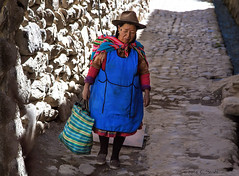 Woman Walking on Side Street (cheryl strahl) Tags: peru southamerica colorful village sacredvalleyoftheincas urubambavalley