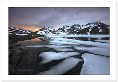 June nightscape (Horia Bogdan) Tags: lake mountains reflection ice norway clouds midnight tromso glacial kvaloya horiabogdan