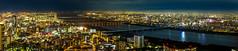 JP2016_11966-Pano (hitorijun) Tags: city sky panorama building japan skyline architecture skyscraper canon river lens construction cityscape nightscape fisheye   osaka japon umeda   815mm 5dmark3