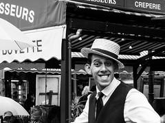 Smile!! (Le petit oiseau va...) Tags: paris montmartre waiter blackandwhite bw blackwhite hat olympus omd smile men joy streetphotography street