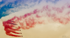 Colours In The Sky (handmiles) Tags: colour sky redarrows raf planes aircraft aviation red blue white outdoor outside out gp grandprix gpweekend silverstone f1 formula1 formulaone sony sonya77mark2 sonya77m2 tamron tamron150600mm mileshandphotography2016