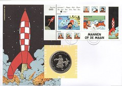 TINTIN - KUIFJE (streamer020nl) Tags: holland dutch stamps nederland 1999 rocket tintin haddock 39 bobbie ecu kuifje hergé raket moulinart mannenopdemaan ecubrief
