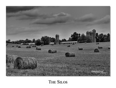 The Silos_7805 (RB Smith) Tags: sky blackandwhite field clouds landscape outdoor farm straw silos serene bales