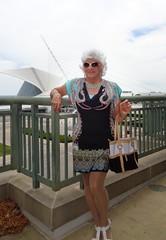 Show-Offs! (Laurette Victoria) Tags: woman sunglasses silver dress purse calatrava milwaukeeartmuseum laurette