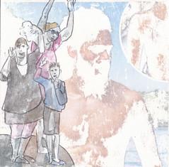 # 225 (12-08-2016) (h e r m a n) Tags: goodbye farewell afscheid zwaaien wave herman illustratie tekening bock oosterhout zwembad 10x10cm 3651tekenevent tegeltje drawing illustration karton carton cardboard