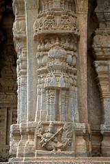 Intricately carved pillar with Women/Peacock hybrid (VinayakH) Tags: talakad karnataka india temple hindu chola gangadynasty hoysala carvings vaidyeshvara kirtinarayana