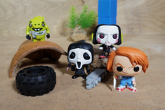 Chucky, Ghost Face and Bill (Busted.Knuckles) Tags: home toys funkopop minifigures chucky ghostface bill angrybird olympusomdm10mkii dxoopticspro11