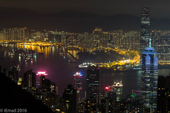 The Harbor by the night... (EHA73) Tags: aposummicronm1290asph leica leicam typ240 hongkong victoriaharbor victoriapeak skyscrapers buildings harbor cityscape mountains nightphotography travel night lights