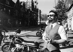 Morning Espresso (Georgie_grrl) Tags: distinguishedgentlemansride motorcycles bikers riders fundraiser charityride dapper dressedtoimpress friends blackandwhite monochrome andalotofchrome jchstreetpan400 queenstreetwest morningmeetup elalmacen toronto ontario pentaxk1000 rikenon12828mm