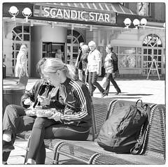 Lunch Break (Xerethra) Tags: bw 35mm geotagged spring nikon europa europe sweden candid skandinavien streetphotography sverige scandinavia sollentuna maj vår svartvit 2013 stockholmslän nikond80 turebergstorg turebergstorgsollentunastockholmslänsverige