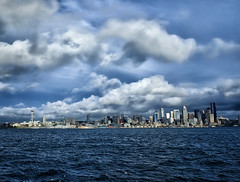 Seattle Cityscape from Elliot Bay (` Toshio ') Tags: seattle city usa water architecture clouds buildings boat washington waves cityscape spaceneedle elliottbay underway ex2 toshio fujiex2