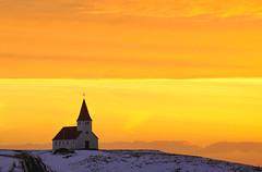 the church on heaven (mike.saupe78) Tags: sky orange cloud mountain church colors berg yellow sunrise island iceland heaven sony ngc himmel sigma gelb farben a77 theunforgettablepictures slt77
