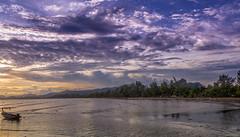 purple sunset (dominiquesainthilaire) Tags: sunset sea seascape colors clouds thailand boat purple violet nuages bateau longtail krabi coucherdesoleil thailande andaman aonang coth5 nikond7100