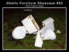 Ghetto Furniture Showcase #53 Toilet Fight at Night! (Mark Klotz) Tags: silly abandoned garbage junk funny crap ghetto shitty fubar crappy ruined brokentoilet gfs oldfurniture markklotz outsidetoilet theghetto brokentoilets discardedfurniture usedfurniture ghettofurnitureshowcase smashedtoilets gfs53 ghettofurnitureshowcase53 ghettofurnitureshowcase53toiletfightatnight crappytoilets toiletfight fightingtoilets