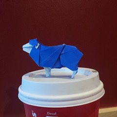 Sheep (curtisfugate) Tags: morning blue animal paper square origami sheep craft starbucks squareformat complex paperfolding farmanimal papercraft iphoneography instagramapp funtofold