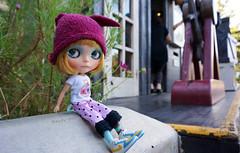 30 Nov 2014........its so nice and cool in the shade (Kewty-pie) Tags: park bunny doll pants helmet australia shade theme blythe custom seaworld goldcoast tippi squeakymonkey maasje nixipixiepuddingpie