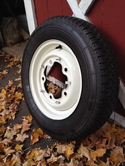 Herbie's new sneakers. (63vwdriver) Tags: vw bug volkswagen beetle tire rim michelin xzx