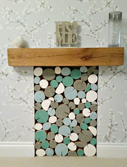 empty fireplace filled with Rustic Teal decorative logs from The Log Basket, customer image (The Log Basket) Tags: wood blue colour grey fireplace interiors display contemporary teal decorative painted rustic logs ornamental feature alcove colourmix thelogbasket customerimage