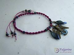 Hummingbird Bracelet (Fulgorine) Tags: hummingbird purple polymerclay bracelet macrame metallicgreen artcharm novabs
