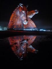 Kelpies Reflection (Gilmour-Photography) Tags: statue scotland unitedkingdom modernart grangemouth falkirk horsestatue scottishtourism thekelpies