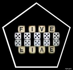 all fives (HansHolt) Tags: dice reflection mirror die 5 five spiegel letter alphabet pentagon yahtzee vijfhoek weerspiegeling dobbelsteen canonef100mmf28macrousm canoneos6d