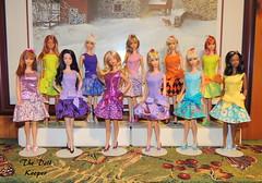 1967 Vintage Mod TNT Barbies in Best Bow Dresses (The doll keeper) Tags: pink blue orange black flower green fashion vintage mod purple ooak barbie malibu blonde christie tnt platinum bows snowprincess steffieface