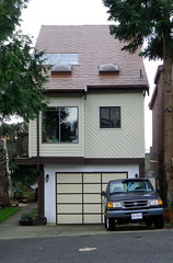 Bby15a41 Narrow House, Burnaby Heights (CanadaGood) Tags: red house canada color colour building tree green yellow truck bc britishcolumbia burnaby 2015 canadagood thisdecade