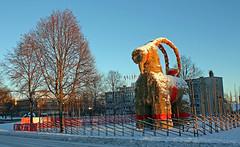 Christmas goat - China Bound (crusaderstgeorge) Tags: china christmas sweden snowy everybody gvle goats sverige merry merrychristmas zhuhai imadeit strawgoat bocken christmasmorning yippee 2014 gvleborg julbocken 19februari2015 gvlebockengvle