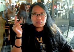 Smoking at Starbucks (mikeeliza) Tags: woman brown hot sexy girl beautiful asian pretty hand skin cigarette smoke philippines fingers young smoking exotic starbucks manila stick pinay filipina oriental eliza greenhills cigarettesmoking mainit mikeeliza