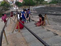 "An enthusiastic radiant ""young devotee"" climbing up the stairs (manoba) Tags: india karnataka bahubali jaintemple shravanabelagola monolithicstatue gommateshvara jainbasadi"