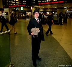 Dr. Takeshi Yamada and Seara (Coney Island Sea Rabbit) at the New York Penn Station in Manhattan, NY on May 13, 2015.  20150513 144=C2 (searabbits23) Tags: ny newyork sexy celebrity rabbit art hat fashion animal brooklyn asian coneyisland japanese star tv google king artist dragon god manhattan famous gothic goth uma ufo pop taxidermy vogue cnn tuxedo bikini tophat unitednations playboy entertainer oddities genius mermaid amc mardigras salvadordali performer unicorn billclinton seamonster billgates aol vangogh curiosities sideshow jeffkoons pennstation globalwarming mart magician takashimurakami pablopicasso steampunk damienhirst cryptozoology freakshow seara immortalized takeshiyamada roguetaxidermy searabbit barrackobama ladygaga climategate  manwithrabbit