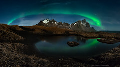 | The Green Arch | (esvertit) Tags: verde green night iceland islandia pond nightscape ngc aurora nocturna sland northernlights borealis charca vestrahorn auroraboreal stokksnes