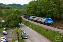 Twins at Ferrum (jwjordak) Tags: trees train virginia us unitedstates cloudy ns curve norfolksouthern ferrum 4001 coaltrain unittrain ac44c6m train756