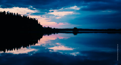 midnight sun (imagomagia) Tags: lake abstract art water reflections evening naturallight nophotoshop midnightsun fineartphotography artphoto simmetry artphotography swedenlandscape