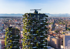 Towering Green (MaxSkyMax) Tags: trees sky italy panorama mountains alps streets green clouds canon buildings spring italia day cloudy pano horizon perspective sunny fair springtime verticale bosco