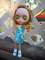 Claire enjoyed exploring the backyard today (GreyBird1881 Plays with Dolls!) Tags: claire walden custom blythedoll morgananniedress nickylad