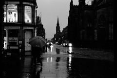 Under my Umbrella  Eastman Week (magnus.joensson) Tags: blackandwhite monochrome 50mm scotland nikon edinburgh kodak 150 handheld fe nikkor eastman nikonfe doublex handrolled seriese 5222 selfdevelop rodinol limitedsupply