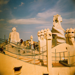 La Pedrera (JoetheLion) Tags: barcelona espaa rooftop lomo xpro crossprocessed spain diana gaudi dianaf casamil lapedrera