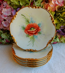 Antique Limoges Porcelain Hand Painted Plates ~ Poppy Gold (Donna's Collectables) Tags: gold hand antique painted poppy plates porcelain ~ limoges