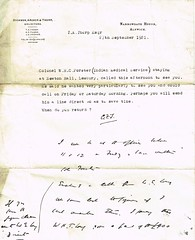 Letter from Thomas Alder Thorp to his brother Collingwood Forster Thorp re a Colonel W.H.C Forster who had called to see him. Northumberland (North West Kent Family History Society) Tags: christchurch london silver born major married wwi property son alnwick northumberland will somersethouse captain solicitors division 1890 1920 lancastergate died 1917 royalengineers 1863 1884 granted 1879 dispute 1869 ellington probate 1866 1896 1882 dicken 1881 1864 creditors debts killedinaction chathill thomasthorp funeralexpenses 11thnovember1919 13thapril1918 ecbdcollection estateduty williamtudorthorp charltonhall archerthorpe narrowgatehse 2nddecember1919 1841alnwick elizabethjanetudor emilysarahwest 24thoctober1871 marialouisajones 16thjune1875 elisabeththorp thomasalderthorp richardfenwickthorp williamtudorsaycethorp1876 robertoakleyvavasourthorp1877 collingwoodforsterthorp beatricejanefenwickthorp reginaldpearcethorp williamedwardlong claimsforduty estatedutyoffice haroldtragettthorp maudelizabethstaffordsanderson laurenceelliotbooth wallaceernestbritten 1stjune1921 janeelizabeththrorp