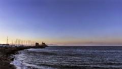 Mandraki (coco.evinrude) Tags: port moulin paysage crpuscule extrieur rhodes mandraki heure bleue mditerrane littoral