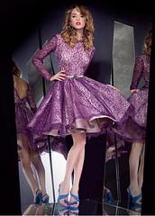 Chic Lace Bateau Neckline Knee-length A-line Homecoming Dress (miyadresses2016) Tags: elegantdress homecomingdress lacedress longsleevedress purpledress cocktaildress partydress
