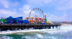 Crashing waves at Santa Monica Pier. (megmcabee) Tags: world ocean california santa blue vacation west color water coast pier seaside waves pacific monica