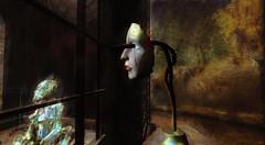 Virtual reality (OFF till 14th Bamboo Barnes - Artist.Com) Tags: secondlife virtualart digitalart surreal vivid photo painting light shadow bamboobarnes tree black yellow red face wall bar green grey virtualreality gothic