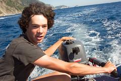 Riomaggiore Harry in Charge of Boat (Nifty_Shoes) Tags: holidaysnaps cinqueterre italy summer 2016 corniglia riomaggiore manarola